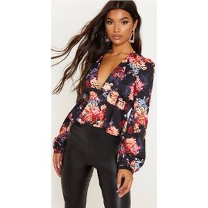 PrettyLittleThing Floral Peplum Top